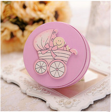 Creative Wedding candy box  tin  cookie  chocolate  baby full month Delicate, small 9.5cm*3.5cm pink blue