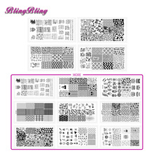 2017New Stamping Lace DIY Nail Stamping Plates Dots Zebra Flower Heart Bear Pattern Rectangle Nail Plate Stamp Template Stamping