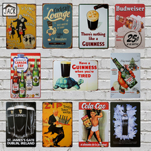 Guinness Beer Wine Cocktail Advertising Metal Tin Signs Vintage Wall Plaques Home Decor House Bar Pub Tavern iron Paintings