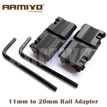 "Armiyo Picatinny 3/8"" 11mm Dovetail to 7/8"" 20mm Ring Converter Weaver Rail Adapter Scope Mount Wrench Included Free Shipping"