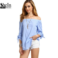 SheIn Summer Striped Off The Shoulder Tie Cuff Tops Womens New Arrival Three Quarter Length Sleeve Casual Blouse