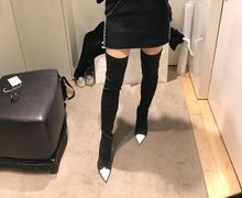 2017 autumn winter boots women white and black stretch fabric boots sexy high heels thigh high boots pointed toe women shoes(China)