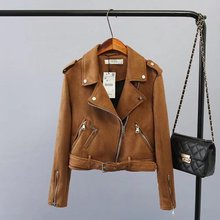 2017 Autumn Fashion Casual  turn-down collar Faux Imitation suede  zipper jacket women Motorcycle Belt design jacket
