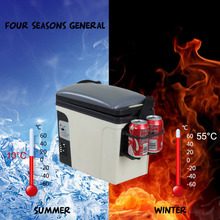 Smad 12V Portable Travel 6L Electric Mini Car Refrigerator RV Boat Truck Outdoor Cooler Warmer 110V Home Compact Fridge