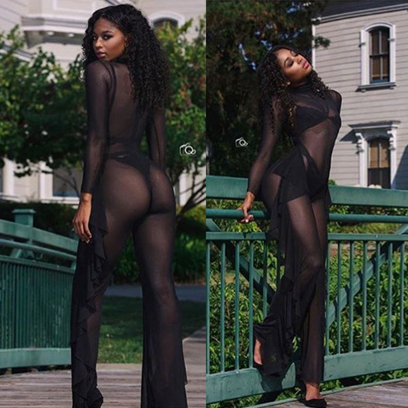 Women Tight Bodysuits Long Sleeve High Stretch Ruffles Night Club Rompers Women (3)