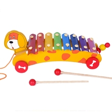 New Children Toy Glockenspiel Educational Music Color Learning Wooden Dog Drag Piano Pull Baby Boys Girls Educational Toys(China)