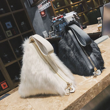 Faux Fur Women Bags Soft Plush Triangle Bag Coin Chain Hand Plush Bag Sweet Lady Gentle Color Wallet Triangle Clutches Cheap 349(China)