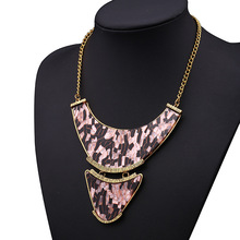 Europe and the United States leopard grain acrylic material necklace restoring ancient ways