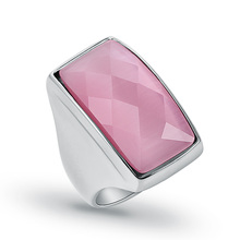 Top Fashion Stainless Steel Pink Opals Rings For Women Natural Square Stone Ladies Ring Trendy Jewelry Wedding Bands 2017 (A065)(China)