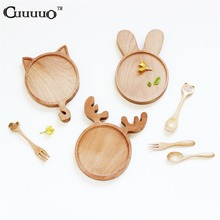 Cute Cartoon Animal Rabbit Bunny Cat Face Wood Dinner Plate Pattern Food Fruits Dish Wooden Service Plate Kid's Wood Dining Tray(China)