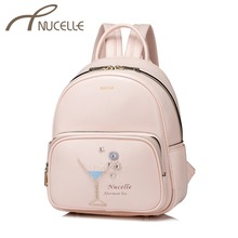 NUCELLE Women's PU Leather Backpack Ladies Fashion Afternoon Tea Beading Shoulder School Bag Ladies Pink Color Rucksack NZ4040(China)
