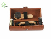 YIHONG New Outdoor Travel Shoe Shine Care Wooden Polish Cream Brush Kit Shoes Cleaning Tool