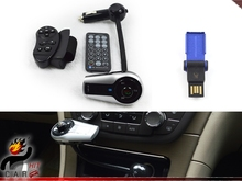 4GB USB Flash Bluetooth Handsfree Mp3 Car Kit FM Transmitter MP3 Modulator With Steering wheel Control(China)