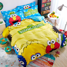cute sesame street letters pattern yellow 3/4pcs bedding sets combing cotton twin/queen size duvet cover+bedsheet+pillowcases