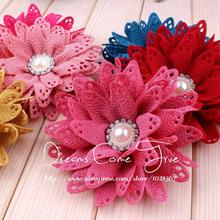 "200pcs/lot 3.5"" 6 Colors Fashion Chin Handmade Hollow Out Fabric Pearl Flowers For Children Hair Aceessories/Dress Decoration"