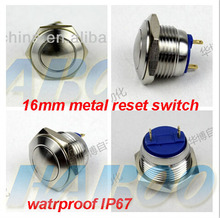 10pcs/lot IP67 16mm PCB metal stainless steel push button switch momentary reset switch IP67