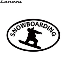 New Product Skiing Man Exercise Silhouette Car Sticker Truck Vinyl Decal Snowboarding Oval Car Bumper Window Sticker JDM