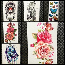 Beauty Women Temporary Tattoo Flower Roses Designs Fake Waterproof Flash Tattoo Stickers Girl Body Art Tatoo Arm Legs Sex Style
