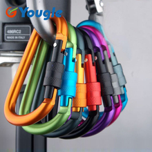 YOUGLE Aluminum D-ring Snap Spring Hook Carabiner Lock Clip Keychain Backpack hanging buckle outdoor tools(China)