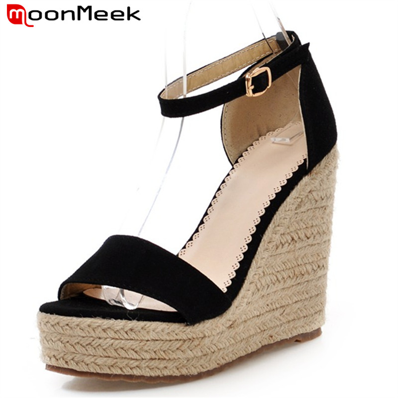 MoonMeek new arrive women high heels sandals fashion buckle platform summer shoes simple super high wedges shoes ladies shoes<br>