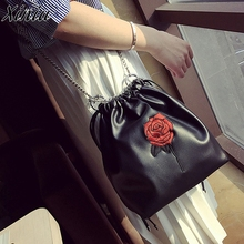 Hot Sale Women's Handbags Shoulder Fashion Roses Handbag Clutch Female Gift Leather Drawstring Messenger Bag Tote Ladies Purse(China)