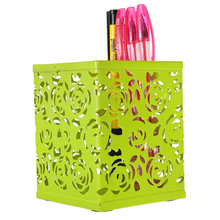 Wholesale Pen Holder Metal Hollow Rose Flower Pattern Square Green Office Desk Organizer Decoration Supplies(China)