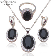 New come Zirconia Silver stamp Earring Necklace rings Fashion Jewelry Set Black AAA cz Health JS584(China)