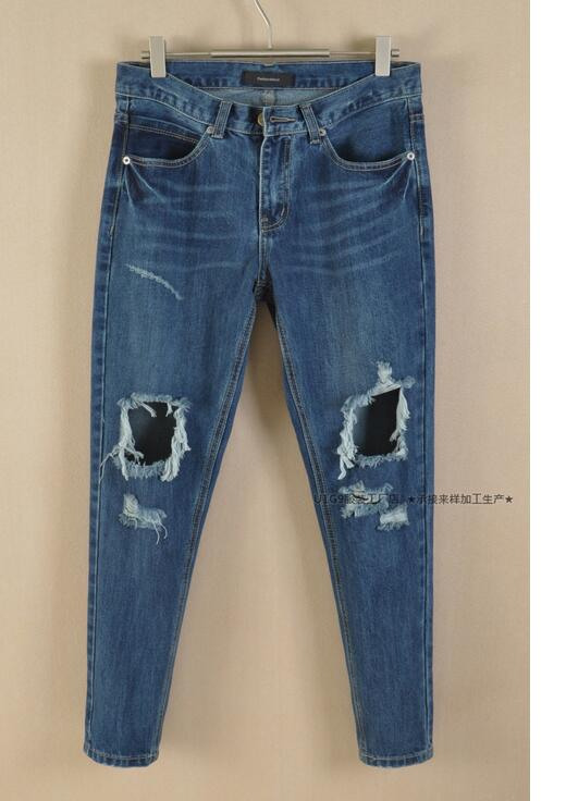 Women loose ripped jeans knee ripped jeans low waist  jeans boyfriend jeans for women denim pants pantalones vaqueros mujerОдежда и ак�е��уары<br><br><br>Aliexpress