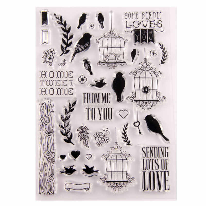 Birds Birdcage Transparent Rubber Clear Stamps Silicone Seals for Scrapbooking DIY Photo Album Paper Card Making Stencil Crafts