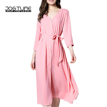 JOGTUME Spring/Summer Women V-Neck Long Pink Day Dress with Three Quarter Button Front Casual Loose Polyester Dress for Ladies