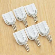 6pcs White Self-adhesive Wall Hook Hanger Plastic Sticky Door Hooks Holder for Clothes Towel Coat Bathroom Kitchen Accessories