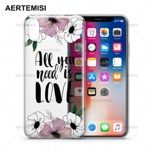 Aertemisi Phone Cases Floral Transparent Crystal Clear Soft TPU Case Cover for iPhone 5 5s SE 6 6s 7 8 Plus X
