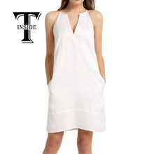 T-INSIDE 2016 Women's Sexy V-Neck Dress Daily Wear with Halter and Pocket Sleeveless White Blue Elegant Summer Dress