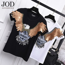 JOD Big Eagle Rock Punk Rock Motorcycle Large Patch Halley Clothes Stickers Sewing Applications for Cloth Sequin Appliques Bead(China)