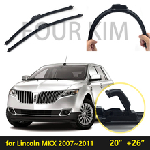 for Lincoln MKX 2007/08/09/10/11 Car Windscreen Wiper Frameless U J Hook Soft Rubber All Weather Suitable Windshield Bracketles