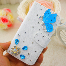 Blue Butterfly Luxury Bling Crystal White Embossed PU Leather Case Cover for iPhone 5 6 7 for Samsung Phone Case