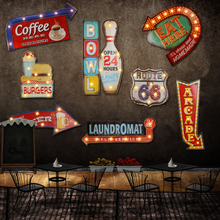 24 style Retro LED metal Sign decorative painting Bar Signage home wall decoration illuminated Cafe signboard hanging Neon signs(China)