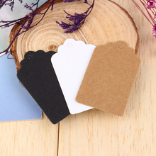 100pcs/bag Kraft Paper Tags Scallop Head Label Luggage Christmas Wedding Party Note DIY Blank Price Hang tag Kraft Gift Hang Tag