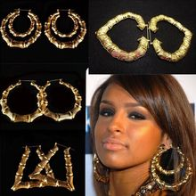Wholesale Jewelry Big Large Bamboo Hoop Earrings Hip hop Earrings 12pairs/lot(China)