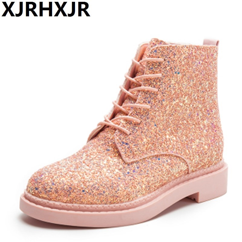 XJRHXJR Women Bling Sequins Flat Pink Timber Boots for Ladies Punk Style Martin Boots Demon Boots Botas Mujer<br>