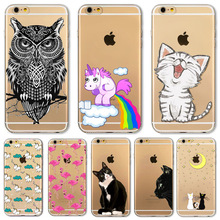 For Apple iPhone 6 6s Plus 5 5S SE 6Plus Case Soft TPU Silicon Transparent Thin Cover Black Cat Dog Owl Rabbit Animal Case