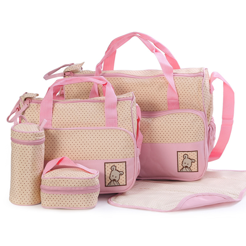 Easy to Carry 5pcs Baby Diaper Bag Suits For Mummy Bag Baby Bottle Holder Stroller Maternity Nappy Bags Sets (4)