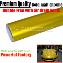 car styling Matte gold Chrome Vinyl Car Wraps Sticker Color Changing Car Sticker With Air Bubble Auto Accessories(China)