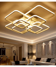 Square Circel Rings Chandelier For Living Room Bedroom Home AC85-265V Modern Led Ceiling Chandelier Lamp Fixtures