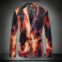 2017 New Men Fire Print Suit Autumn Winter Male Singer Performance Jacket Slim Blazer Men's Personalized Fashion Outerwear Coats