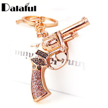 Dalaful Unique Crystal Revolver Magnum Gun Key Holder Chains Rings For Car Bag Pendant For Women Keyrings KeyChains K273(China)