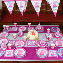 135pcs Cute Pink Pig Disposable Tableware sets TableCloth cups Paper plate Napkin Kids Boy Birthday Party Decoration