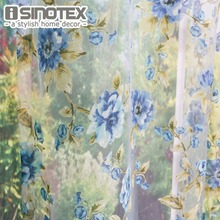 ISINOTEX Window Curtain Blue Flowers Transparent Sheer Voile Fabric For Home Living Room Screening 1PCS/Lot(China)