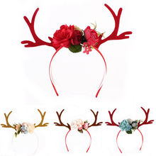 XMAS Headband Gift Women Girs Kid Christmas Deer Antlers Costume Ear Party Hair band New Hot Floral Hairband