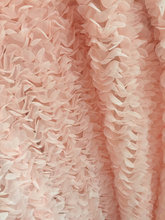 1 yard on sale peach Pink Rosette Fabric Photography Prop Backdrop wedding table cloth 3D chiffon fabric, MF075(China)